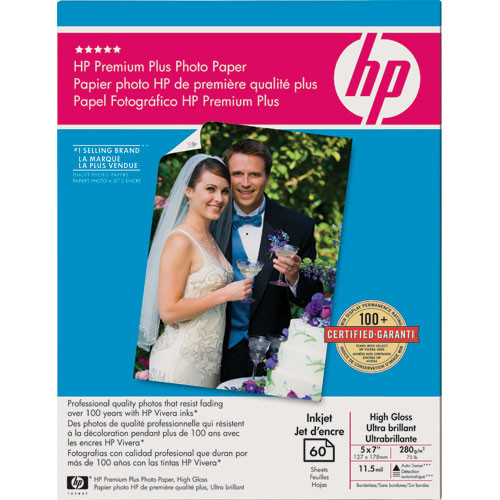 Giấy in hình HP Premium Plus High-gloss Photo Paper-60 sht/5 x 7 in