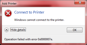 "Sửa máy in lỗi ""Windows cannot connect to printer"" trên Windows 7"
