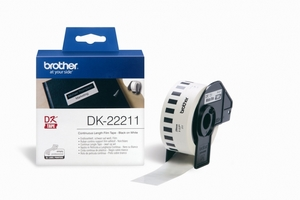 Nhãn Brother DK22211, Black on White, khổ rộng 29mm x 15.24mm